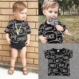 Wholesale Wholesale Kids Tees - Kids Tee Toddler Black Letter Print Baby Clothes Boys T Shirts Girls Top Fashion Clothing Short Sleeve Tshirts