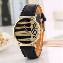 Wholesale Piano Ornament - 2265 Fashion Elegant Women & Men Analog Quartz Retro Piano Keyboard Musical Note Watch Wristwatch Ornament Leather Band Artist Artical Decor