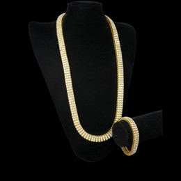 "Wholesale diamond row chains - High Quality Men's Gold Plated Hip-Hop Iced Out 30"" 3 Row Simulated Diamond Bling BlingChain & Bracelet Mens Jewelry Y#109"