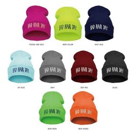 Wholesale Bad Hair - 11 Colors Winter Unisex Warm Knitted Beanies Hats Fashion Bad Hair Day Letter Printed Beanie Hip Hop Sports Hat Ski Cap CCA6959 50pcs