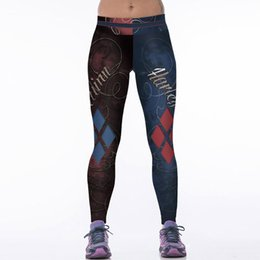 Wholesale Sexy Silver Leggings - Wholesale- NEW 084 Sexy Girl Leggins Vintage Suicide Squad Harley Quinn 3D Prints Elastic High Waist Workout Fitness Women Leggings Pants