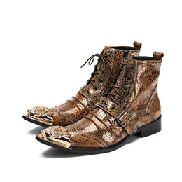 Wholesale Men Pointed Short Boots - 2018 New Arrival Autumn Winter Men Boots Fashion Rock Pointed Toe High Increased Western Short Boots Gold Snake Pattern, Big Size 38-46