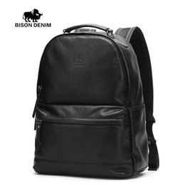 Wholesale Large Leather Laptop Backpacks - Wholesale- BISON DENIM High Quality Genuine Leather Large Backpack Men Bag Daypack black business ipad travel Backpacks 15 inch laptop bags