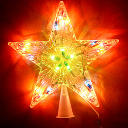 Wholesale Wholesale Christmas Star Ornaments - White Plastic Christmas Tree Star Topper Xmas Ornaments Tree Decorations With Led Light For Home Office With Retail Package