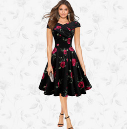 Wholesale Womens Xxl Vintage Dresses - Audrey Hepburn style Womens Elegant 50s 60s Vintage Dresses Rose Retro Rockabilly Floral Sexy Party Dress S M L XL XXL W18