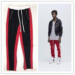 Wholesale Spandex Trousers - Mens Casual Pants Sports Wear Clothing for Man FOG GD Zipper Stripes Vintage Trousers Long Pants Loose Elastic Waist