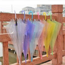 Wholesale Transparent Clear Umbrella Wholesale - Transparent Clear EVC Umbrella Dance Performance Long Handle Umbrellas Beach Wedding Colorful Umbrella for Men Women Kids