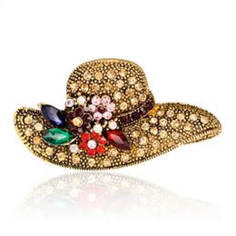 Wholesale Sun Cap China - Women Retro Exquisite Alloy Gold Plated Rhinestone Sun Cap Brooches Scarves Clip Pins Corsage Garment Jewelry Accessory