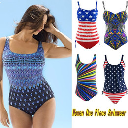 Wholesale Hot One Piece Bathing Suits - Newest Hot Sexy Womens One Piece Plus Size Swimwear with Straps Bohemian Girls High Waist Bathing Suit Beachwear Many Style L-3XL