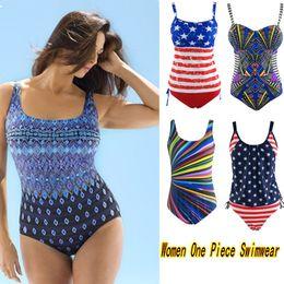 Wholesale Womens Plus Size Bathing Suits - Newest Hot Sexy Womens One Piece Plus Size Swimwear with Straps Bohemian Girls High Waist Bathing Suit Beachwear Many Style L-3XL