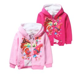 Wholesale Cartoon Character Clothing For Kids - cute thick kids coat hoodie sweatshirt cotton velvet cartoon trolls hoodie for 4-12yrs children boys girls outerwear clothes hot