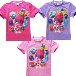 Wholesale Good Costumes For Kids - Girls Summer tshirt The Good Luck Trolls Shirts New Movie T-shirts for Girls Cotton Tees Kids Casual Tops Trolls Costumes