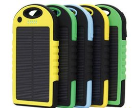 Wholesale External Portable Power Charger - NEW Waterproof 5000 mAh Sun Charger Portable Dual USB Battery Solar Panel power bank External Battery with LED Torch Light