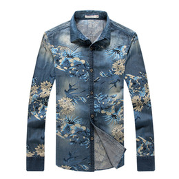 Wholesale Collar Denim Shirt - Wholesale- Denim Shirt Men 5XL Long Sleeve Mens Vintage Clothing Floral Shirts Men Slim Fit Dress Shirts Cotton Chemise Homme 2017 T132