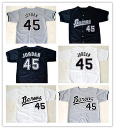 Wholesale Michael Movies - Michael #45 Birmingham Barons Button Down Baseball Jersey Mens Movie Jerseys All Stitched Embroidery Baseball Jersey