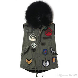 Wholesale Womens Button Down - Down Coat Vest With Fur Hood Army Green Vest Winter Womens Cargo Vest Badge Patch Chalecos Black Fur Sleeveless