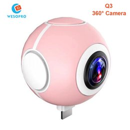 Wholesale Wide Angle Mini Cam - DHL Fast Mini Panoramic 360 Camera 360 Degree Cam HD Wide Dual Angle Fish Eye Lens VR Video Camera for Andriod Smartphone