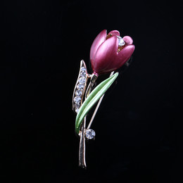 Wholesale Decorative Flower Brooch - Wholesale- 2016 New Decorative Crystal Brooch Pin Garment Accessories Jewelry Tulip Brooches For Women Flower Wedding Brooch Jewelry