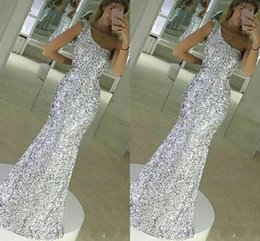 Wholesale Sparkling Party Dresses - 2018 New Sparkle Bling Silver Prom Dresses Sequins Lace Long Mermaid Sleeveless One Shoulder Floor Length Formal Evening Dress Party Gowns
