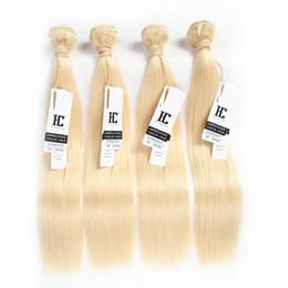 Wholesale 12 613 Weft Hair Extension - Cheap #613 blonde Brazilian Straight Hair 4 Bundle human hair weaves hair extensions silky straight bundles