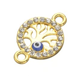 Wholesale Crystal Lucky Tree - Wholesale- 15pcs New Lucky Pendant Enamel Evil Eye Round Crystal Life For Tree Connector Fit Bracelets & Bangles Turkish Pulseras For Women