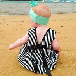 Wholesale Vertical Stripe Style - Ins Vertical stripes Dresses for baby girl Backless bows Beach dresses Cute loose short dress V neck 2017 Summer Toddler clothing 100%cotton