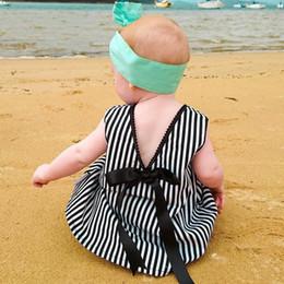 Wholesale Vertical Stripe Shorts - Ins Vertical stripes Dresses for baby girl Backless bows Beach dresses Cute loose short dress V neck 2017 Summer Toddler clothing 100%cotton