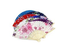 Wholesale Hand Fans Favors - Vintage silk fan wedding gift favors mix color for dance bridal fans Bridesmaid hollow bamboo handle wedding accessories Fold