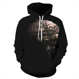 Wholesale Blue Brains - brain 3d printed hoodies fashion hoodies 6 sizes mens hoodie hotsale womens hoody 2017 new arrival fashion clothes free shipping