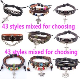 Wholesale Mix Cross Charms - 43Styles Mixed Religious Cross Leather Charm Bracelets With Pendant Christian Rivet Wristbands European Jesus Bracele Jewelry Free shipping
