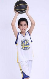 Wholesale Dress Summer Kid - Kids Warriors Team No. 30 Curry Basketball Dress Set Kids Competition Training Appearances Jerseys 50244 Free Shipping 1 SUIT
