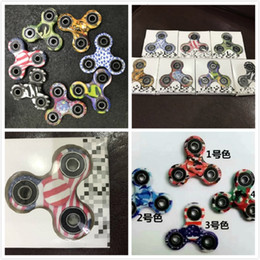 Wholesale Triangular Boxes - 40pcs Good Quality 3D Camo Triangular Fingertips Spinner Colorful Fidget Hand Spinner EDC Toy Gift Relieve Stress With Retail Box