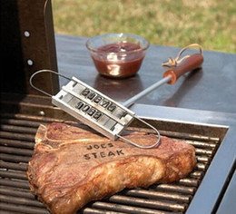 Wholesale Making Drinks - Free Shipping 20pcs BBQ Meat Branding iron with changeable letters Personality Steak Meat Barbecue BBQ Tool Changeable 55 Letters