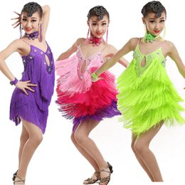 Wholesale latin dance show - Purple Girls Latin Tassels Sequined dancing dress Kids Competition show Ballroom Salsa Skating Dancewear Costumes Outfis