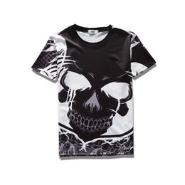 Wholesale Womens White Tee Shirts Xl - 2017 sping new summer wear high quality cotton plend novelty tees 3d print big black skull face mens womens tee unisex o-neck t-shirts