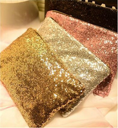 Wholesale Wholesale Women Envelope Clutches - Sparking Bling Sequin Clutches Evening Purse Dazzling Glitter Bag Ladies Fashion Spangle Wallet Messeger Bags Handbag Bag