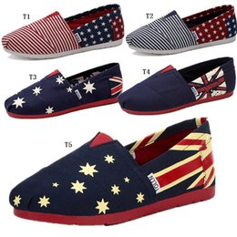 Wholesale American Flag Canvas Shoes - New Lovers American Flag Straw Shoes Couple Of Casual Shoes Men Women Loafers Men's Lazy Leisure Canvas Shoes Retail Sizes 35-45