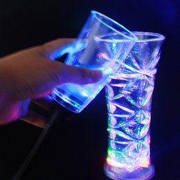Wholesale Cross Form - 2017 Colorful Led Cup Flashing Shot Glass Led Luminous Neon Cup Birthday Party Night Bar Wedding Beverage Wine flash small cup