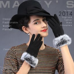 Wholesale Korean Hair Style Ladies - Wholesale- New Winter women gloves Korean style Rabbit hair bowknot lovely fashion style Touch screen lady gloves