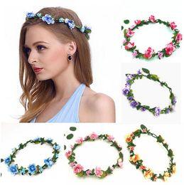 borse di fiori artificiali Sconti Hair Wreath Flower Headpiece Bohemian Terylene Flower Headband Garland Crown Festival Wedding sposa damigella d'onore floreale copricapo