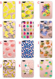 Wholesale Lipstick Iphone Case - Cartoon Soft TPU Case For Iphone 8 7 PLUS 7PLUS 6 6S I6 SE 5 5S Feather Lip Lipstick Fruit Pineapple Banana Silicon Phone Skin Cover 100PCS