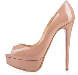 Wholesale Woman Pretty Shoes - High Heel Platform Shoes Rubber Material Pretty Dress Shoes Round Toe Fuchsia High Heel Shoes for Summer Party