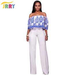 Wholesale Floral Strapless Jumpsuit - Wholesale- JRRY Fashion Strapless Floral Pattern Loose Women Jumpsuit Embroidery Flowers Top White Long Pants Ladies Romper