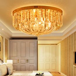 Montagem de teto de cristal vintage on-line-LED Modernas Lâmpadas de Teto de Cristal de Ouro Americano de Cristal Luzes de Teto Luminária Para Casa Iluminação Interior do Lustre 110 V 220 V D50cm * H26cm