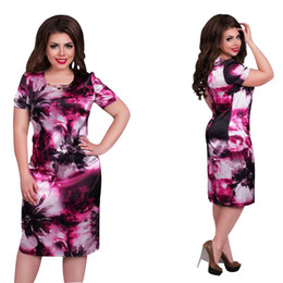 Vestido de comprimento reto joelho on-line-2019 mulheres marca de moda dress plus size 6xl vestidos o pescoço imprimir flor reta casual verão na altura do joelho vestido de grandes dimensões