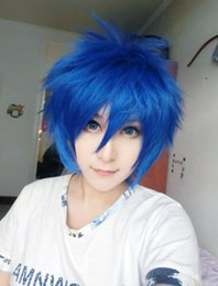 Wholesale Hair Tail Men - MCOSER Fashion Carzy Blue 14 Inches Man Fairy Tail The Smith's Anime Carnival Wig Cosplay women's peruca hair queen wigs