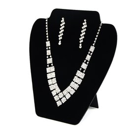 Wholesale Necklace Earring Velvet Display - Big Necklace Earring Set Display Card Stand Black Velvet Elegant Space Saving Jewelry Displays for Shop Shelf Boutique 3 Pieces Lot