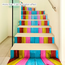 Wholesale Wood Grain Vinyl - 18x100cmx6pcs Stair Decals Colored Wood Grain Stair Decoration Aprons Coatroom Child Romantic Colorful Wall Stickers