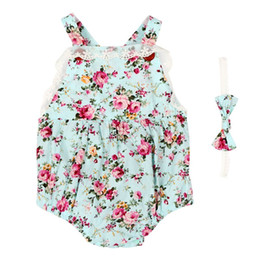 Wholesale Costume Bodysuit Outfit Romper - Wholesale- Baby Bodysuit Girls Clothes Floral Sleeveless Romper +Heaband Overalls Outfit Costume Sets New W03