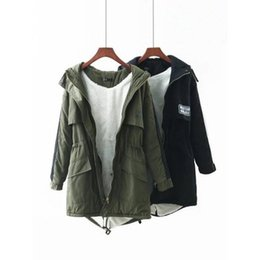 Wholesale Cotton Wool Padding - winter women jacket army green 2018 new european style in the long hooded cotton padded jacket female thickened lamb wool coat H51